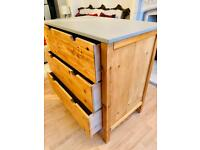 Lovely Pine Chest of 3 Drawers with grey top - I can deliver