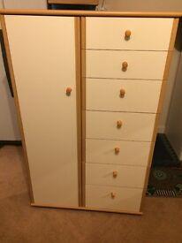 Alstons light wood and cream veneer tall boy wardrobe