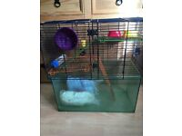 """Large Hamster/Gerbil/Mouse Cage - Hard Plastic Bottom and Wire Top - 21"""" x20 x 10"""""""
