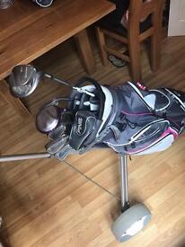 Full ladies RH golf club package, inc bag, trolley, clubs