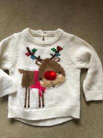 Mothercare flashing reindeer jumper 9-12 months