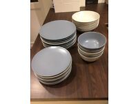 IKEA crockery set, blue-grey and beige from smoke and pet free home