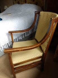 3 Antique oak dining chairs and a bedroom chair