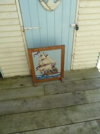 Wooden Fire screen with Embroidered Ship under Glass