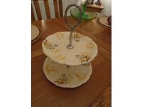 Clarice Cliff Two Tier Cake Stand in Celtic Harvest Pattern
