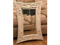 Cream ornate wall mirror ready to hang
