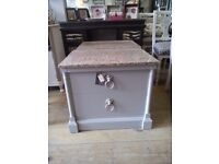 Unusual set of bedside TABLES with granite top (American style).