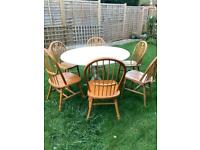 Large Dining Table Set with Six Chairs