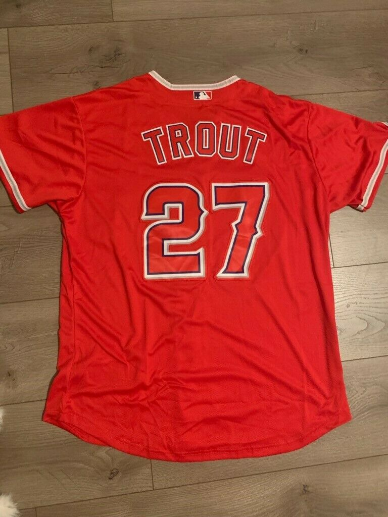Mike Trout #27 Los Angeles Angles Red Nike Jersey 48 New