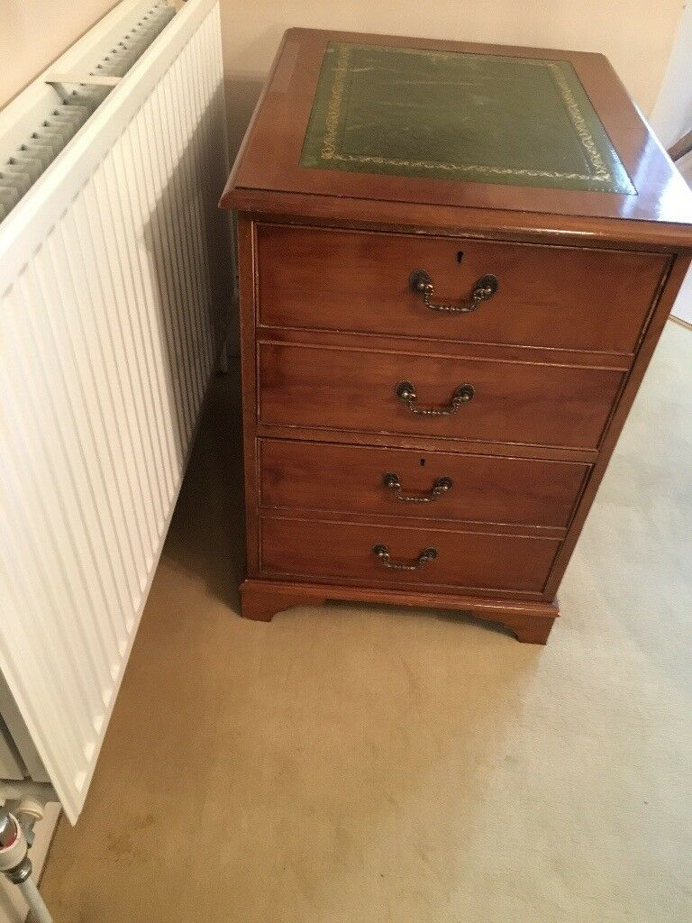 mahogany reproduction 2 drawer filing cabinet with leather ...