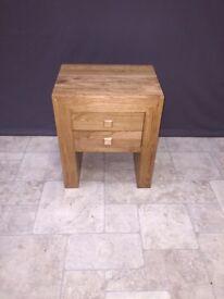 Solid Oak 2 Drawer Bedside Table Bedroom Room Bedroom Furniture Wood