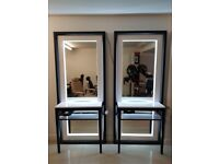 Brand New & Boxed Light up floor standing Salon Mirror styling unit station for the salon chair