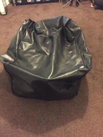 2 Black Leather bean bags