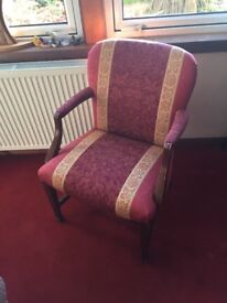 Gold/Red Ornate fabric Chair