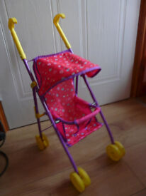 TOY PUSHCHAIR IN PINK WITH SOFT BODIED DOLL - IMMACULATE! Suit Toddler / small child