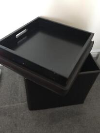 Brown Faux Leather storage box / stool