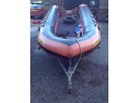 Humber 5m inflatable, Mariner 40HP outboard, single axle trailer