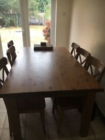 Ikea 6 seater table with 6 chairs