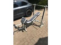 Maximuscle multipurpose bench and 7ft barbell