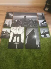 Black and white bridges and skyscraper wall pictures