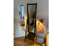 Full length free standing dark wood Mirror with shelf