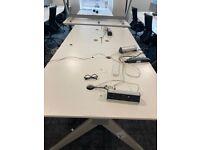 White Techo 4-pod office pod/bench/hot desk desk/table