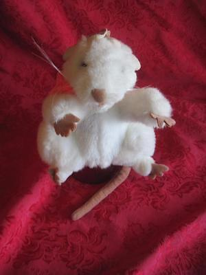 """Folkmanis-White-Mouse/Rat w/ Pink Scarf-Full-Body-Hand-Puppet-Plush-Pretend 6"""""""