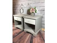 Gorgeous Refurbished French Shabby Chic Set of Bedside Cabinets / Tables