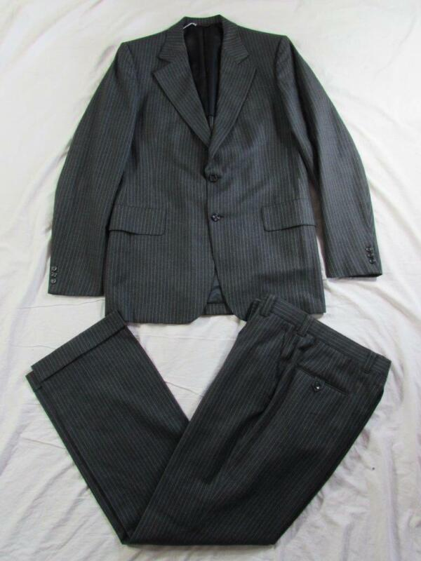Vtg 60s 70s Hart Schaffner Marx 2 Pc Pinstripe Wool Suit Jacket & Pant Hollywood