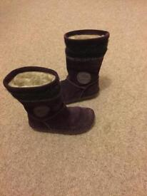 Girls clarks purple boots size 7.5