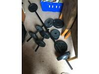 Free weights lifting barbell dumbell