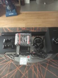 PS3 for sale no box but all wires included with games