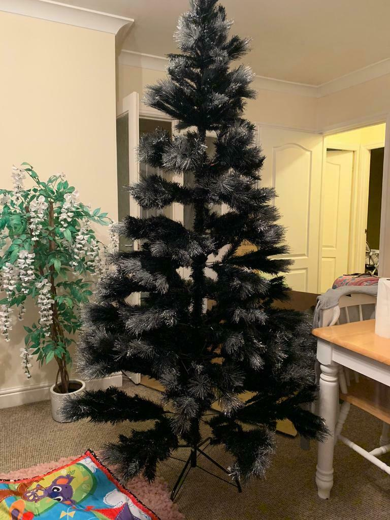 7ft luxury glitter tipped black Christmas tree | in Clifton, Manchester | Gumtree