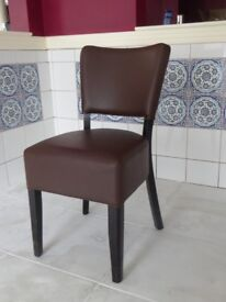 padded brown leatherette dining chairs