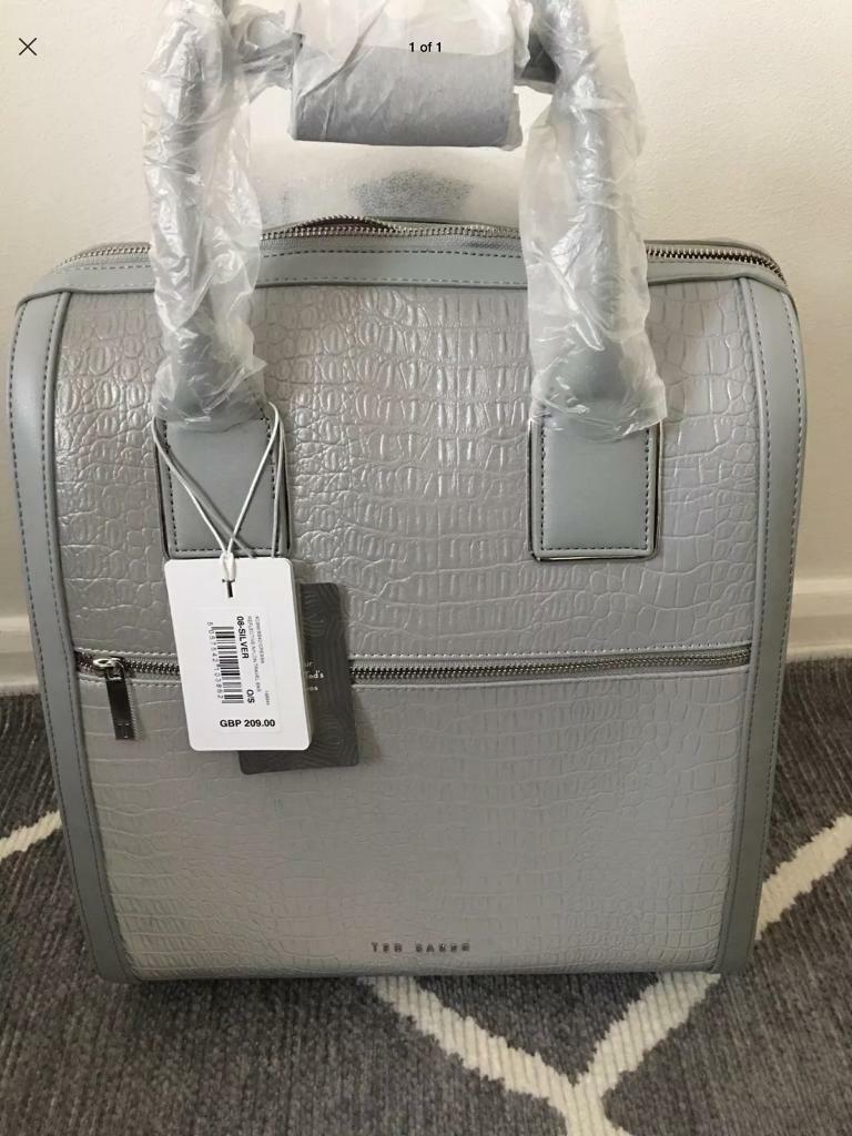37e298beb TED BAKER silver metallic CRESSA croc travel bag hand cabin luggage