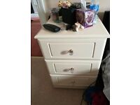 Pair of Cream Bedside Tables Wood Ornate Handles Tall