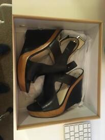 Michael Kors - style Josephine Wedge high heels, black leather - size 38