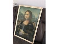 50's Mona Lisa print with original frame