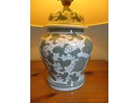 Table Lamp Ginger Jar Style - Green design with Cream Shade