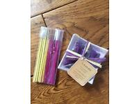Lavender incense with dish and joss sticks
