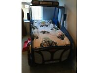 Boys tractor bed with headlights, barely used excellent condition
