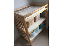 Light wood baby changing table; and Tommy tippee sangenic refills