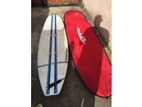 7ft 9in Surfboard with leash, fins and carry bag for sale - good condition - collection only