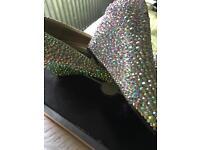 Stunning Diamanté rhinestone ab crystal wedge shoes