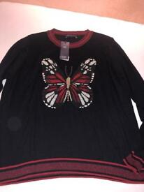 Marks and Spencer jumper with lovely butterfly application (size 24)