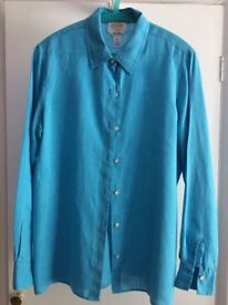 Talbots USA Size 10 Linen shirt in turquoise