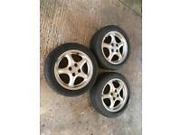 3 x original MX-5, MK 2.5 alloy wheels with tyres