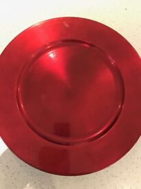 Xmas Plate Chargers x 10 fo fit Large Plates in Shiny Red Lacquered Heat Resistant Polyproplene