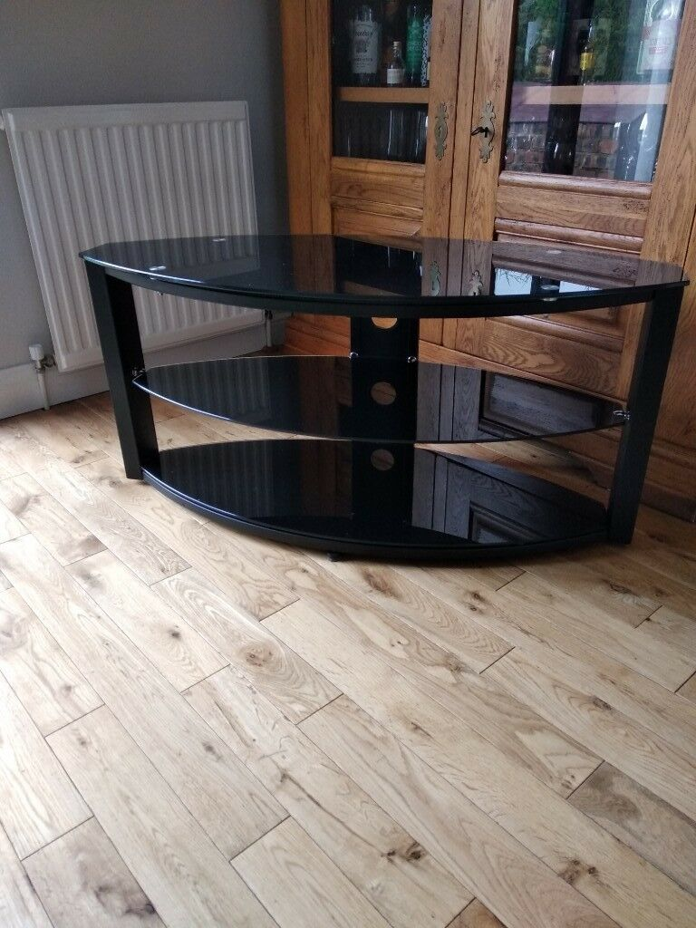 Tv Stand In Black Glass Measures 40 Inch Wide Depth 175 At Widest