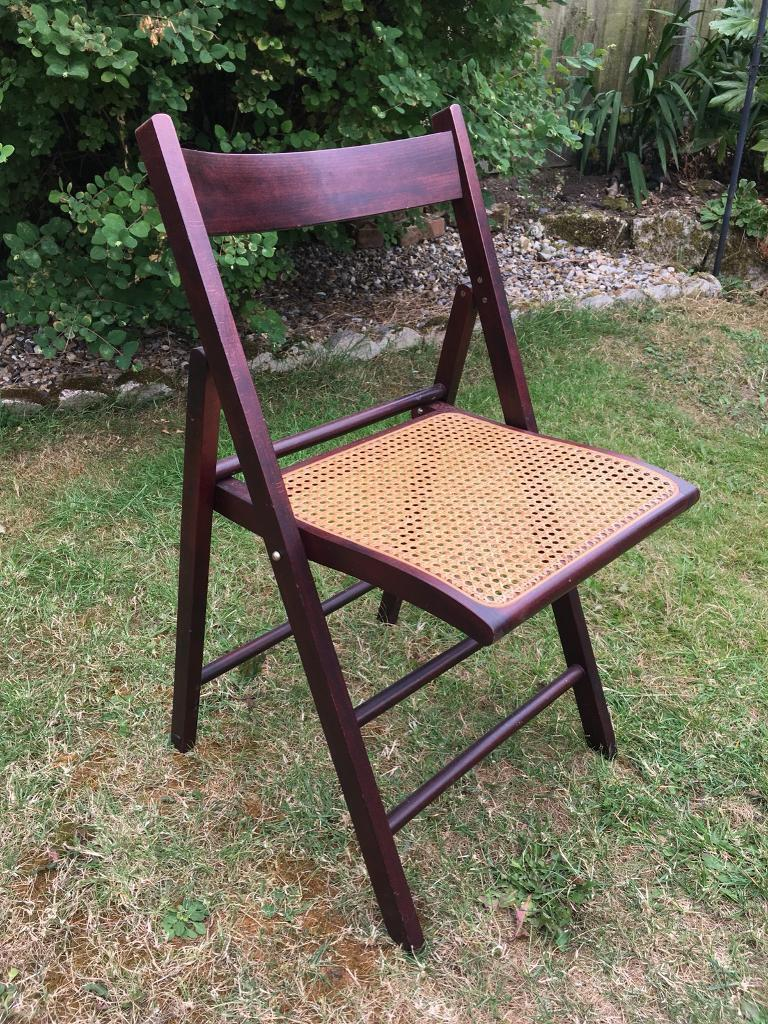 Set Of Four Vintage Wooden Folding Chairs With Cane Seat In Norwich Norfolk Gumtree
